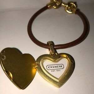 COACH Heart Lock Leather Bracelet  Gold and Brown